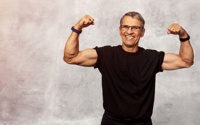 Senior Stock Photo of Mature Man Flexing